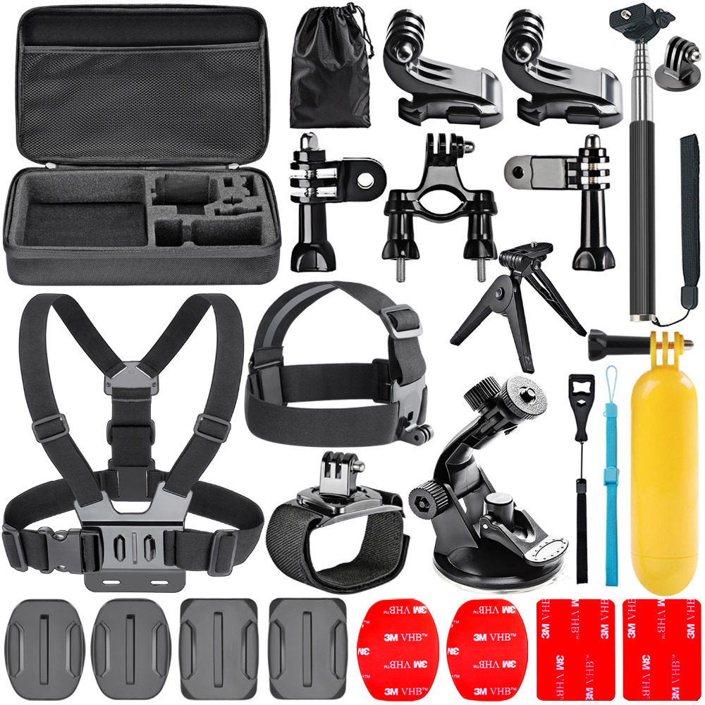 Neewer 21-in-1 Black Edition GoPro Accessories Kit for SJ4000 gopro hero4 3 2  SJCAM SJ5000 camera case chest tripod