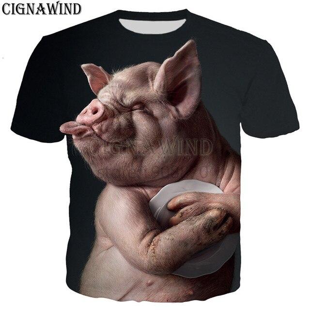 新人気ノベルティ動物豚犬牛シリーズ tシャツ男性女性 3D 印刷原宿スタイル tシャツ/ パーカー夏トップス