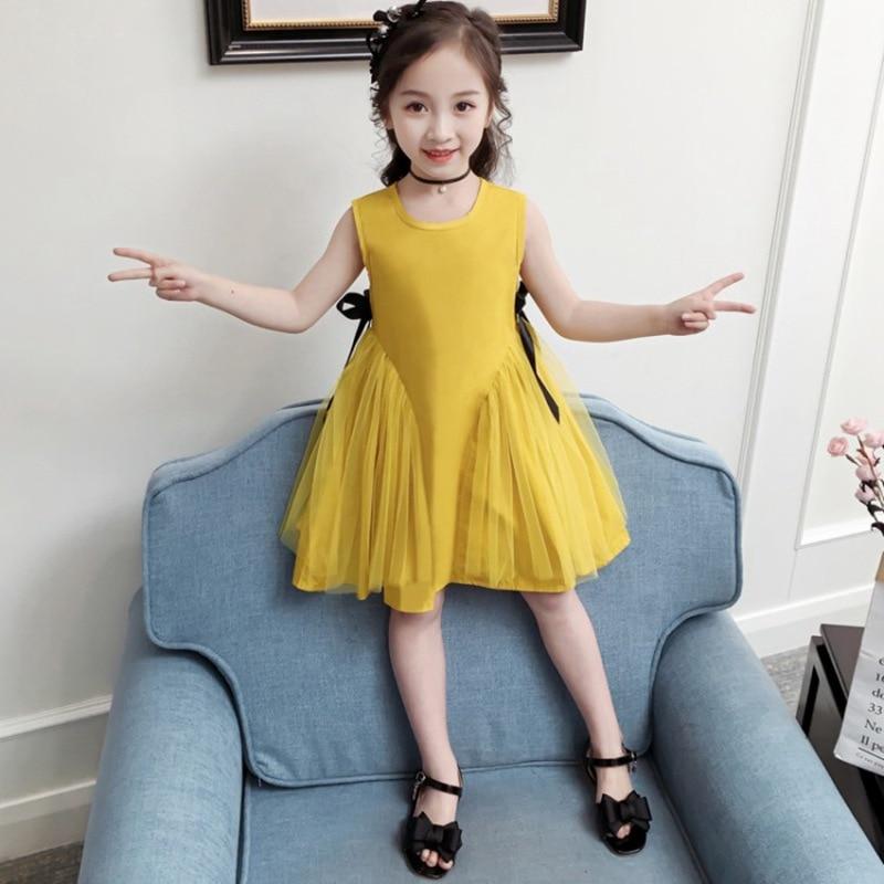 CROAL CHERIE Yellow Party Princess Dress Girl Summer Kids Dresses for Girl Costume Fashion Children Girls Clothing Bow Dress 6