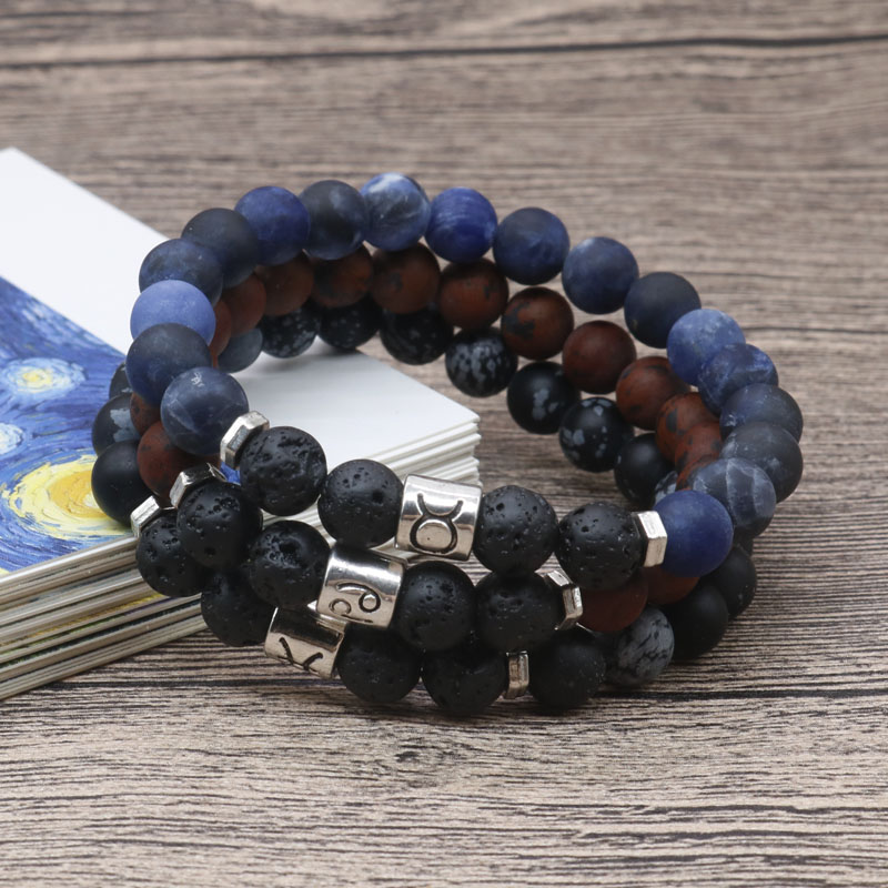 12-Constellations Bracelet Frosted-Stone-Bead Astrology Horoscope 12-Zodiac Natural Women