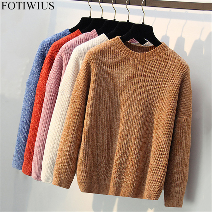 Winter Warm Overszed Sweater Women Knitted Sweaters Velvet Chenille Pullovers Jumper Ladies Casual loose Pull Femme Autumn