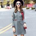 Ouyalin l-5xl moda casual das mulheres cinza vestido curto bordado manga longa botão frontal slim fit flare mini vestidos mais tamanho