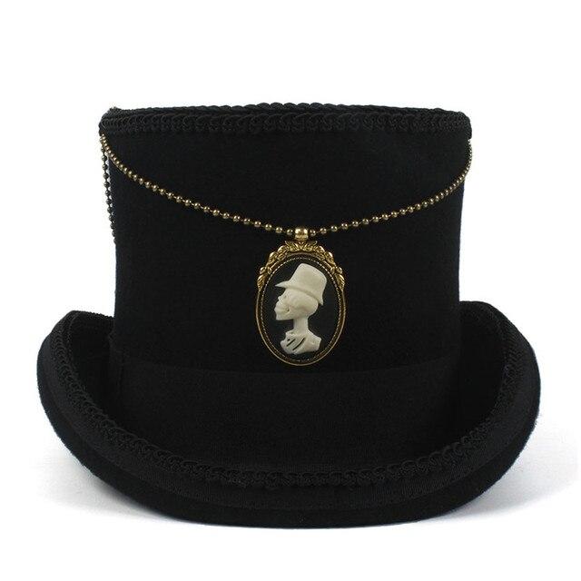 13.5CM Black Top Hat For Women Men Wool Steampunk Fedora Hat With Handmade  Punk Shantou d1842bc6c3e