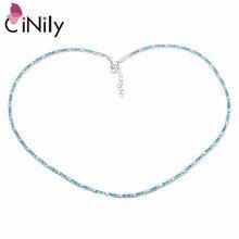CiNily океан синий огненный опал цепи ожерелье s посеребренные Регулируемые длинные и Чокеры ожерелье с камнем Бохо ювелирные изделия женщина девушка