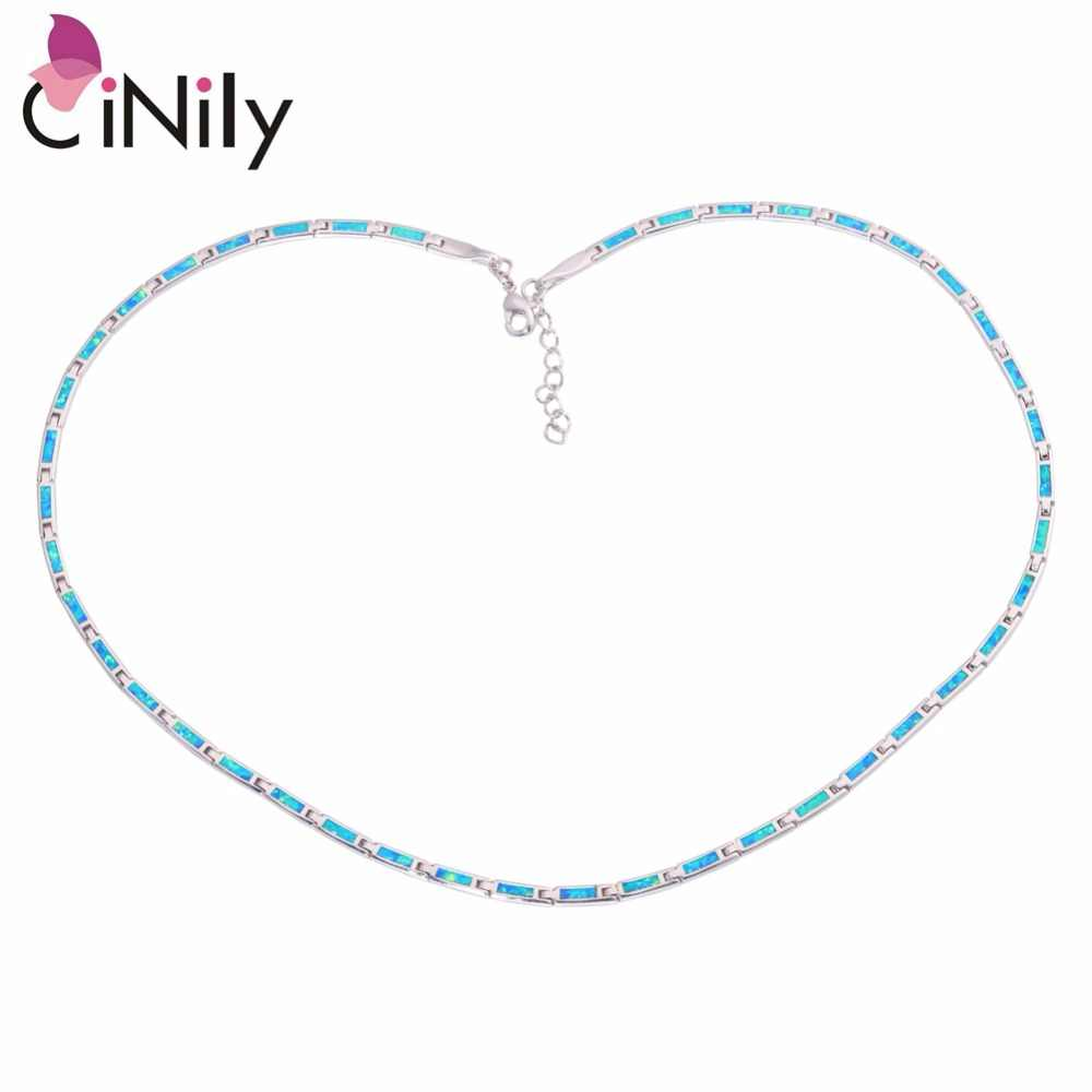 CiNily Ocean Blue Fire Opal Chains Necklaces Silver Plated Adjustable Long & Chokers Necklace With Stone BOHO Jewelry Woman Girl