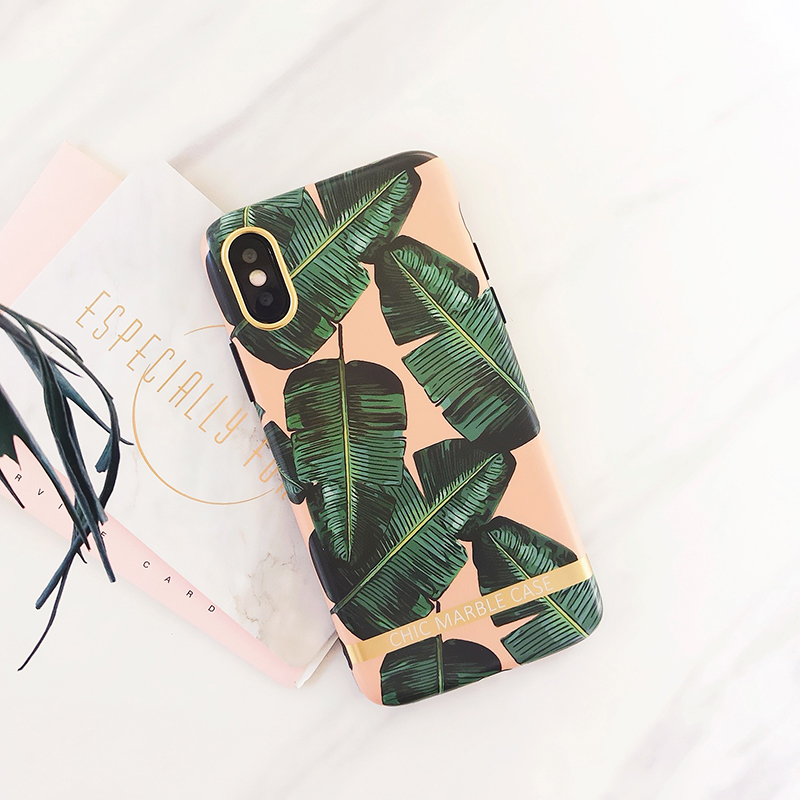 Case for iPhone XSMAX X XR XS Nordic style green leaves matte IMD Soft TPU cover case for iphone 6 6S 7 8 Plus back fundas