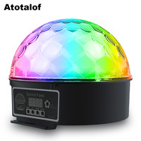 Atotalof Crystal Magic Ball 9 Colors 13W LED Stage Lighting 7 Sound Control Modes With Remote