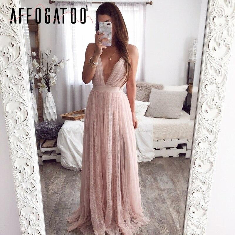 Affogatoo Sexy escote en v profundo sin espalda verano Rosa Vestido Mujer elegante encaje noche maxi vestido vacaciones largo vestido de fiesta señoras 2019
