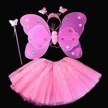 Костюмы для танцев на Хэллоуин; костюм сказочной принцессы; Детские крылья бабочки+ палочка+ повязка на голову+ юбка-пачка