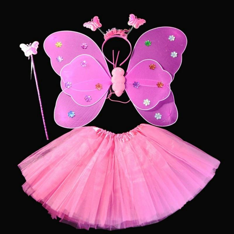 edc44dabf283 Halloween Dance Costumes Cosplay Fairy Princess Kids Butterfly Wings  +Wand+Headband+Tutu Skirt