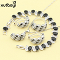 Fashion 925 Silver Jewelry Sets Black Sapphire White Topaz Shining Necklace Rings Earrings Bracelet For women
