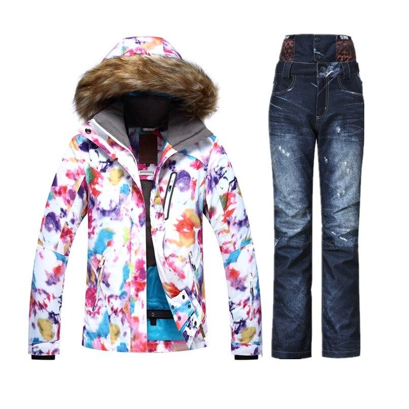 2018 GSOU chaud Ski de montagne costume pour femmes coloré Ski costume femme Ski vestes Snowboard Snowsuit Ski pantalon Denim