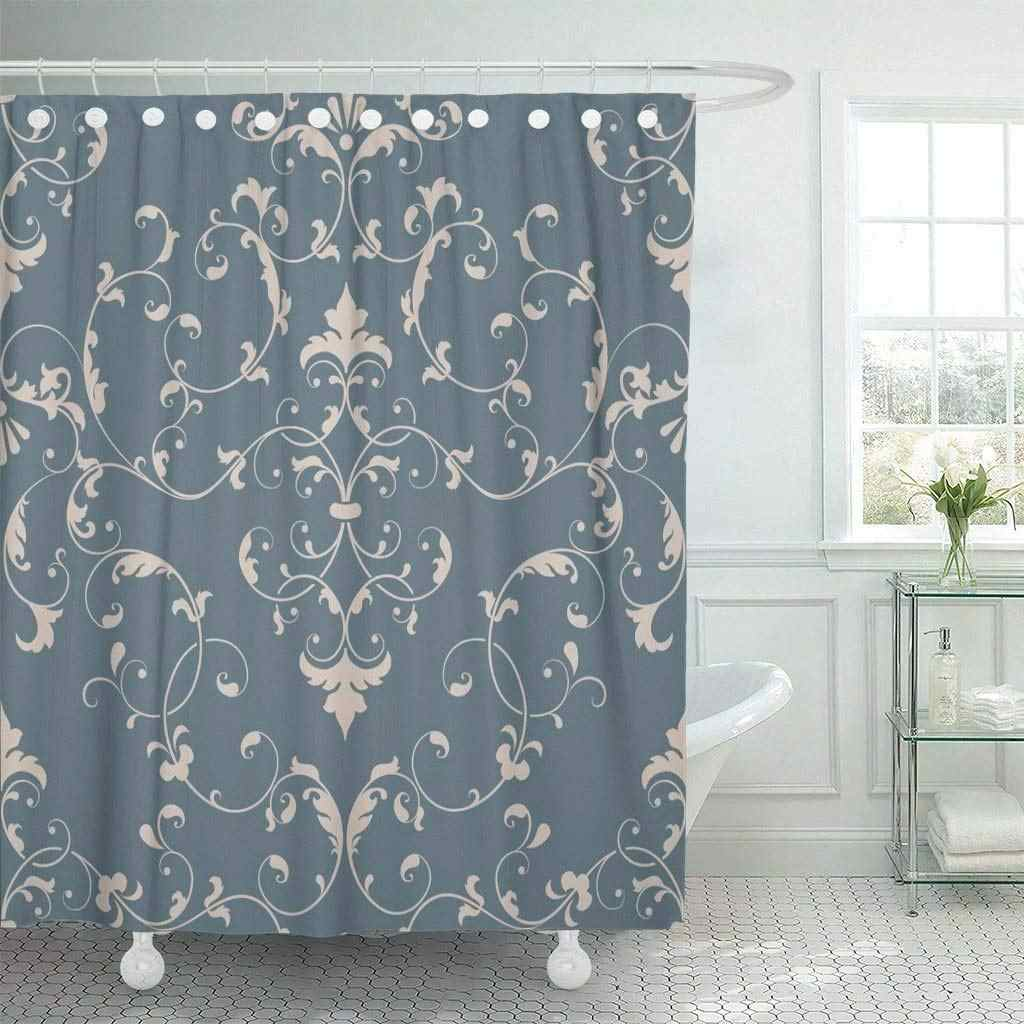 Shower Curtain With Hooks Floral Damask Elegant Luxury For