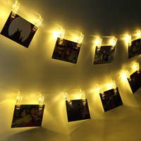 Warm White 1M 10LED 2M 20LED Card Photo Clip String Lights Wall Holiday Atomosphere Lamp For