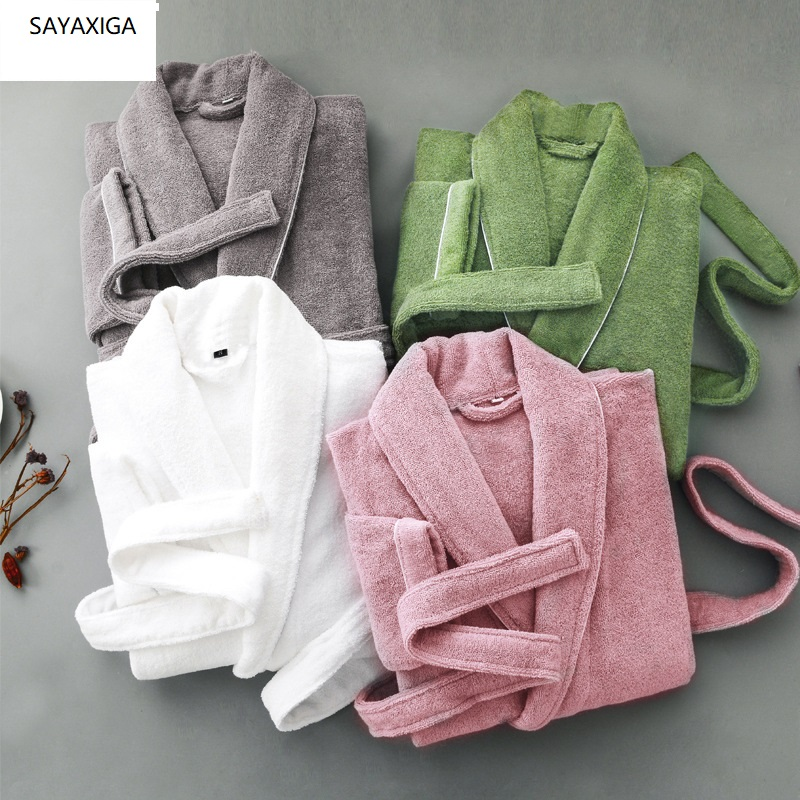 Spring Autumn winter Thick pure cotton plain color bathrobes robe Unisex long sleeve absorbent terry bathrobe