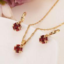 6a0eb1fd6c01 Conjunto de joyería de Boda nupcial de circonita de color rojo nuevo de la  Reina con