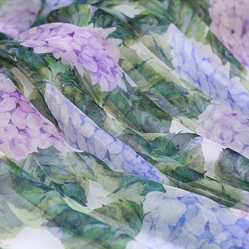 Žaliosios hortenzijos natūralios šilko šifono plunksnos audinys suknelėms audinių tecido audinių ir metrų tel.