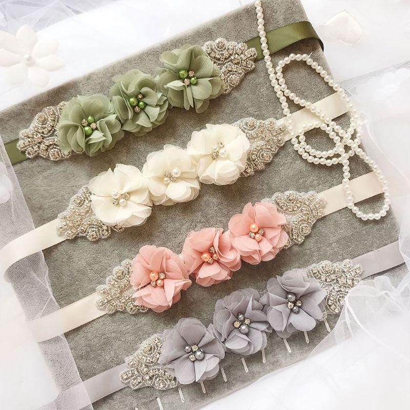 270x2cm Womens Elegant Three Flower Sash Rhinestone Beaded Waistband Bridal Ribbon Cummerbunds Wedding Dress Waist Belt 12 Color