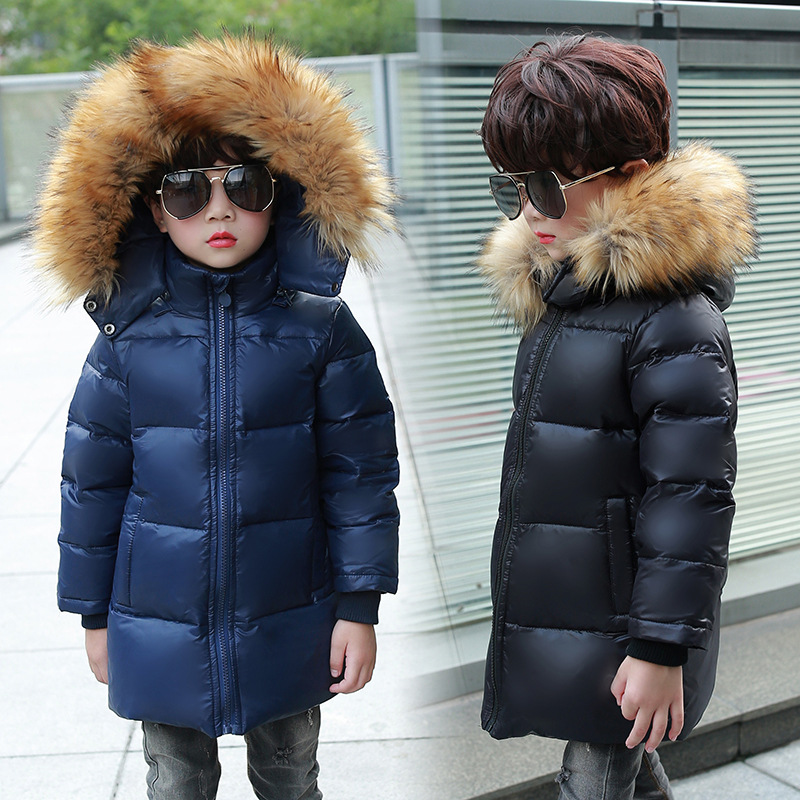 Thick Winter Children's Warm Jacket Down Jacket For Girl Thick Long Parka Real Fur Collar Hooded Kids Overcoat Outerwear russia winter boys girls down jacket boy girl warm thick duck down