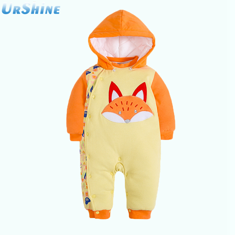 2018 New Fasion Warm Baby Boy Jumpsuit Girl Thick Hoodies New Born Snow Ropa Clothing Sets Cotton Lovely Fox Tops And Pants