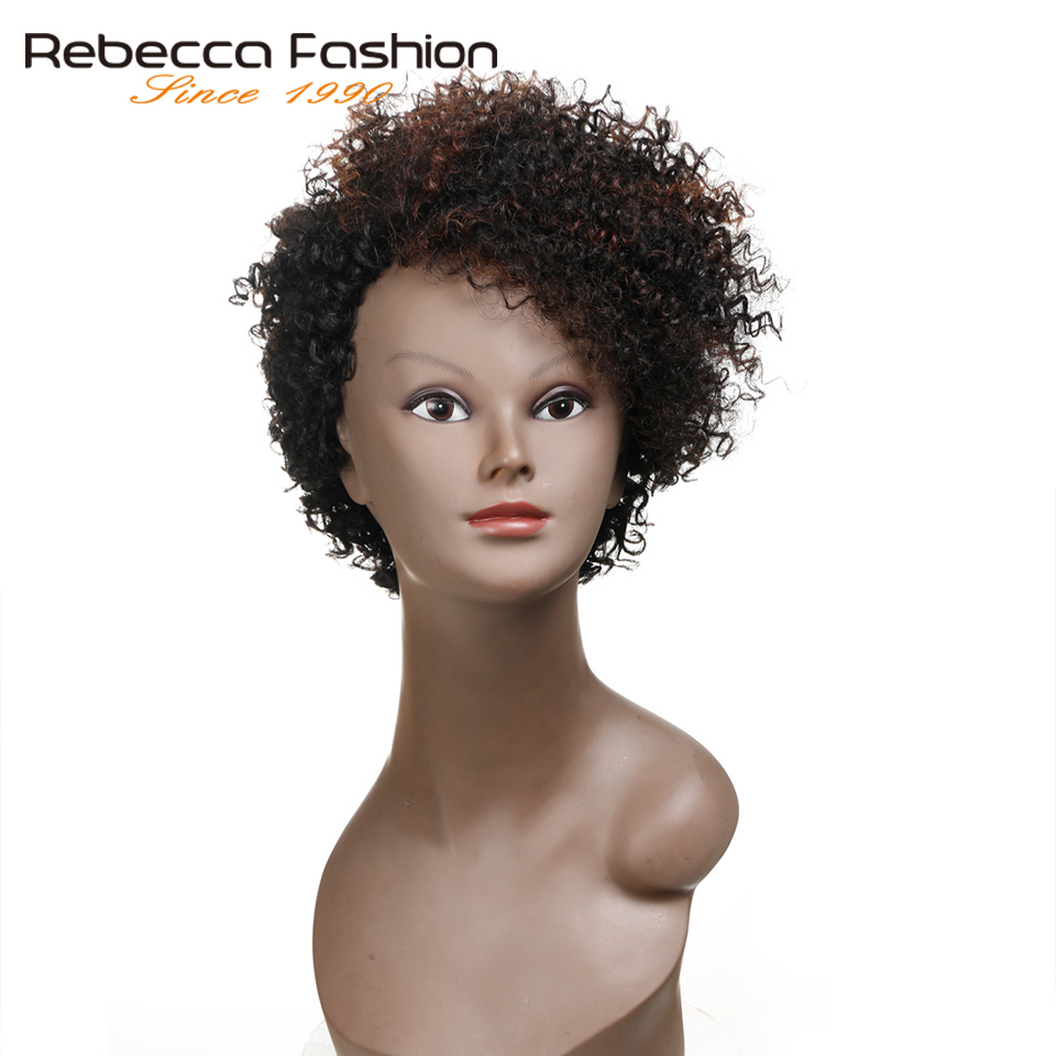 Rebecca Cheap Short Bob Kinky Curly Wigs For Black Women Brazilian Human Hair Wig Brown DYF1B/33# Color Wholesale Price(China)