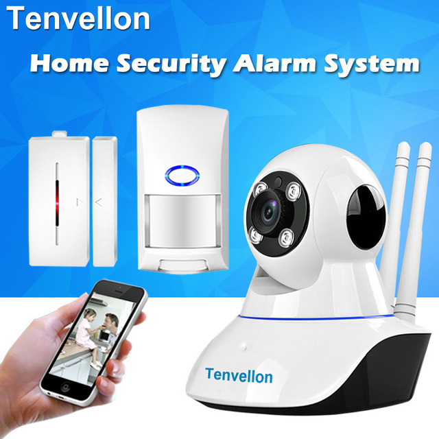 Special Price Security Alarm System 720P WIFI Camera Security System Surveillance Camera With 1pc Wireless Door Sensor Alarm 1pc PIR Detector
