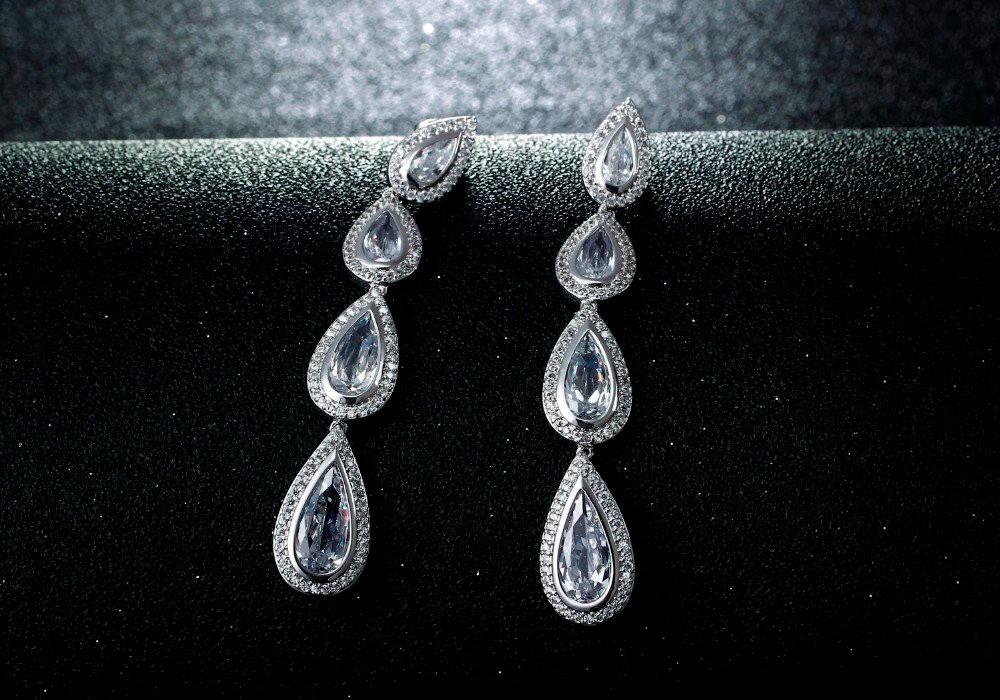 Featured Brands AAA cubic zirconia Bridal earrings teardrop