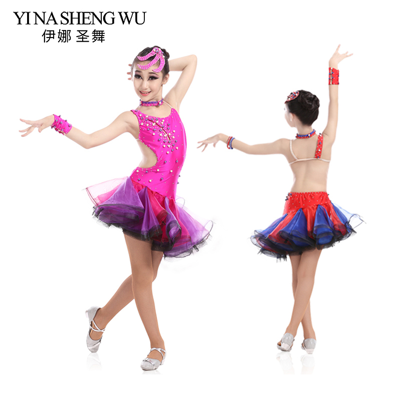New Latin Dance Children Kid Popular Rhinestone Open Back Sexy Dress Girls Elegant Samba Tango Latin Stage Performance Dress