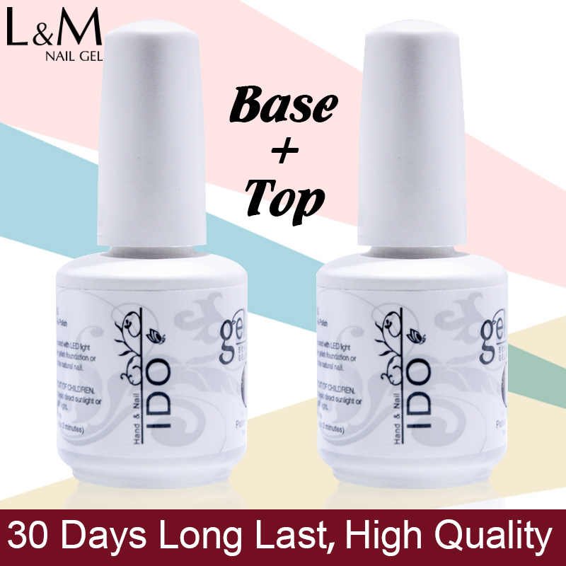 2 Pcs Kit Ido Gelpolish 15 Ml Top Coat Base Coat Uv Gel Polish Rendam Off Profesional Primer Telanjang Putih warna Kuku Gel Produk