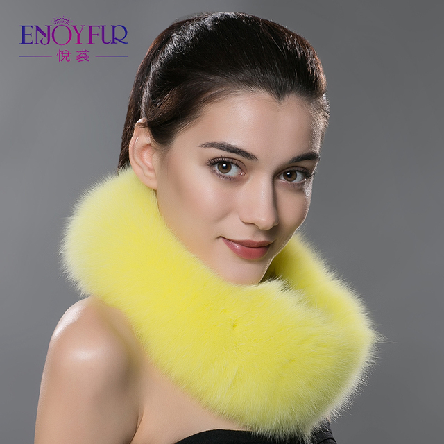 ENJOYFUR winter women fur scarf real fox fur shawl knitted warm fur scarves mulitcolor fashion good quality fur ring women scarf