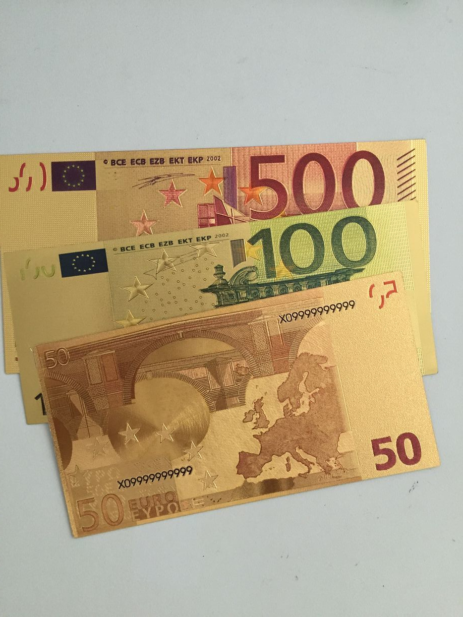 Mix Order 30/lot <font><b>50</b></font> 100 500 <font><b>Euro</b></font> Bank note 24k Gold Foil <font><b>Banknote</b></font> European Collection <font><b>fake</b></font> Money <font><b>Euro</b></font> Gold Foil <font><b>banknotes</b></font> image