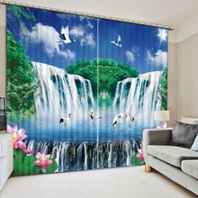 Large Waterfall Landscape Curtains For Windows Blackout 3D Curtain nature scenery Photo Drapes