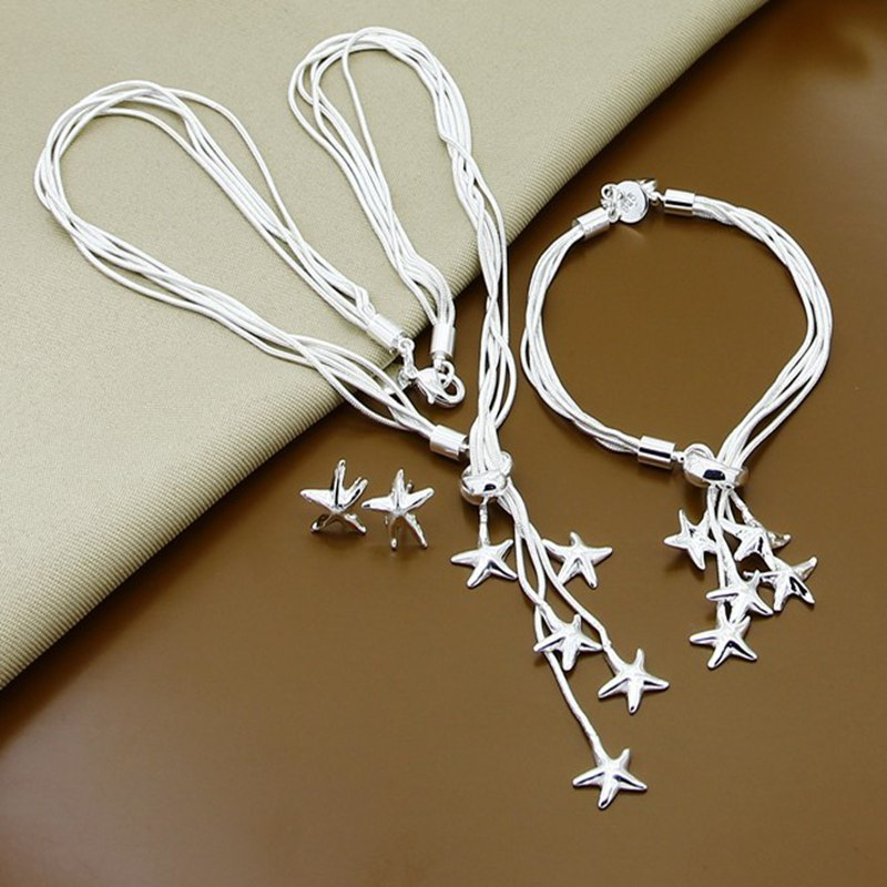 Promotion Sale Silver Color Small Starfish Necklaces Earrings Bracelet Jewelry Sets For Women Wholesale Price