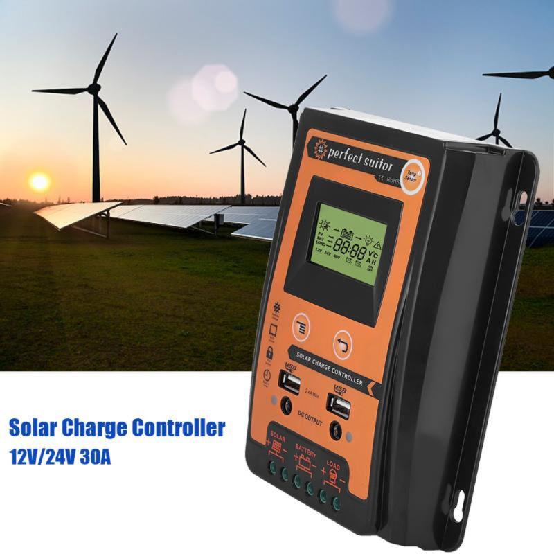 Contrôleur de Charge 12 V 24 V 70A MPPT contrôleur de Charge solaire panneau solaire régulateur de batterie double affichage LCD USB