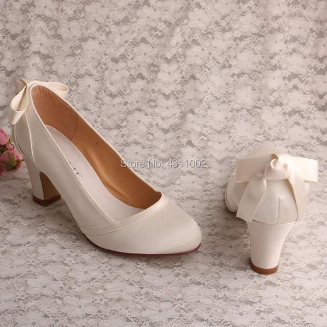 eb29967d4a2 placeholder Handmade Closed Toe Bridal Shoes Comfortable Block Heel Ivory  Satin Dress Pumps