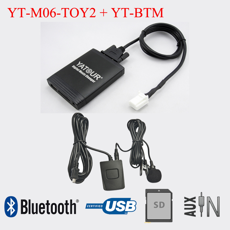 Autoradio Yatour USB SD AUX avec adaptateur Bluetooth pour Toyota Lexus ScionAutoradio Yatour USB SD AUX avec adaptateur Bluetooth pour Toyota Lexus Scion