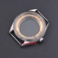 41mm Silber Stahl Uhr Fall Fit ETA 2836  Mingzhu/DG 2813/3804  Miyota 8205/8215