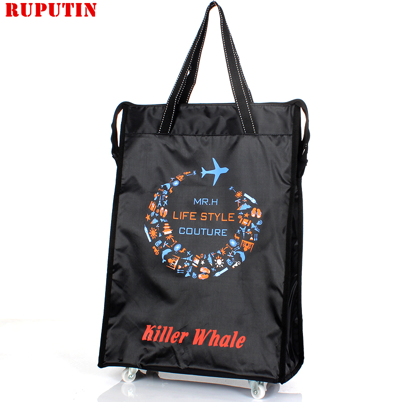 RUPUTIN Women Men Travel Bag Collapsible Ladies Shopping Bag Grocery Puller Trolley Bag Wheel Bag Portable Storage Shopping Cart