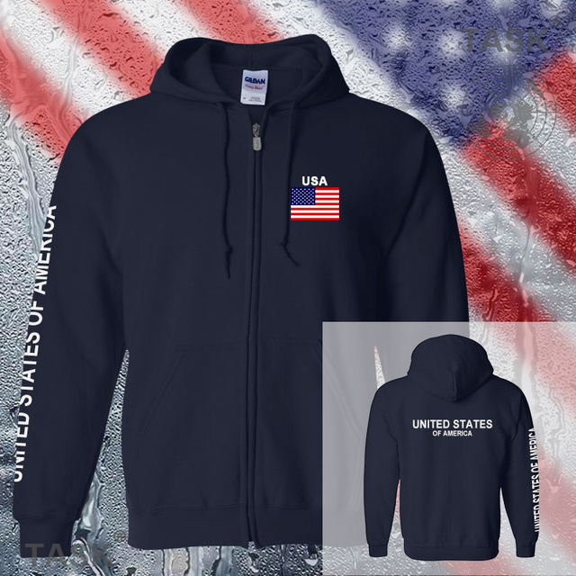 USA 	United States American mens hoodies and sweatshirt off white jerseys sweat suit streetwear tracksuit nations fleece zipper