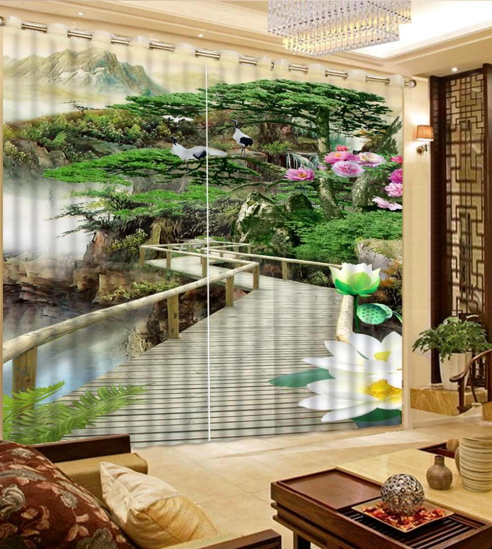 Современный 3D фото занавес s печать деревянный мост окно занавес s на заказ 2 шт. занавес s высокое количество 3D занавес