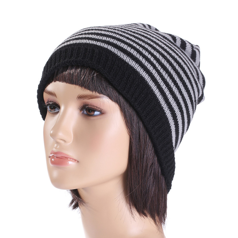 Hot Winter Casual Men Striped Beanies Skullies Hats for Women Men Hip-pop Black Knit Hats  Girls Unisex Adult Caps Gooras LZ033 rosicil skullies beanies winter hats for women letter beanies women hip hot caps skullies girls gorros women beanies female