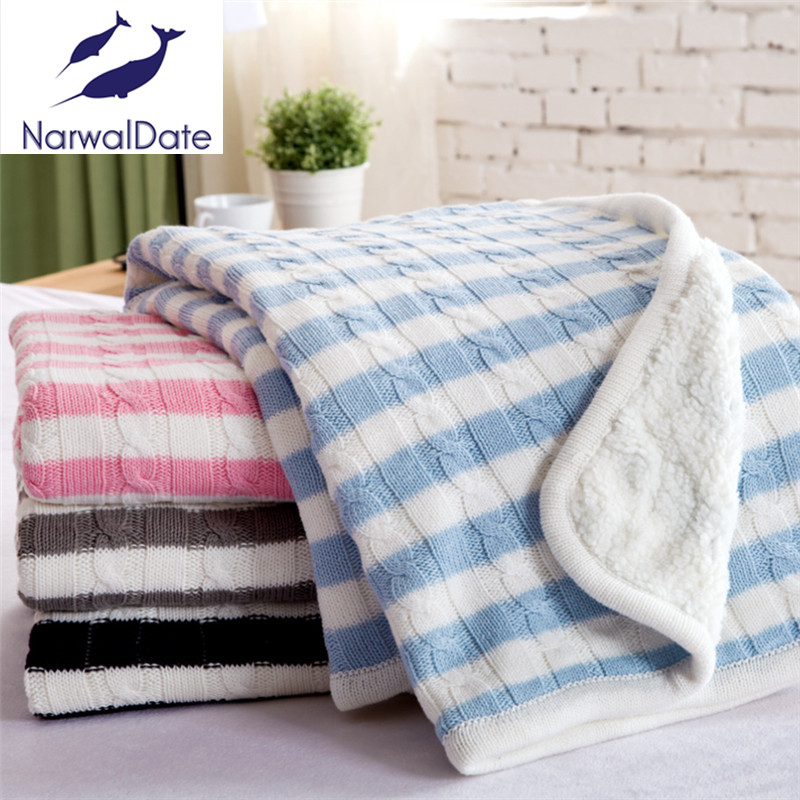ФОТО Discount!!! Striped Spring/Autumn Throw Blanket Cotton Knitted Blanket Adult Blanket Sofa Blanket Cobertor