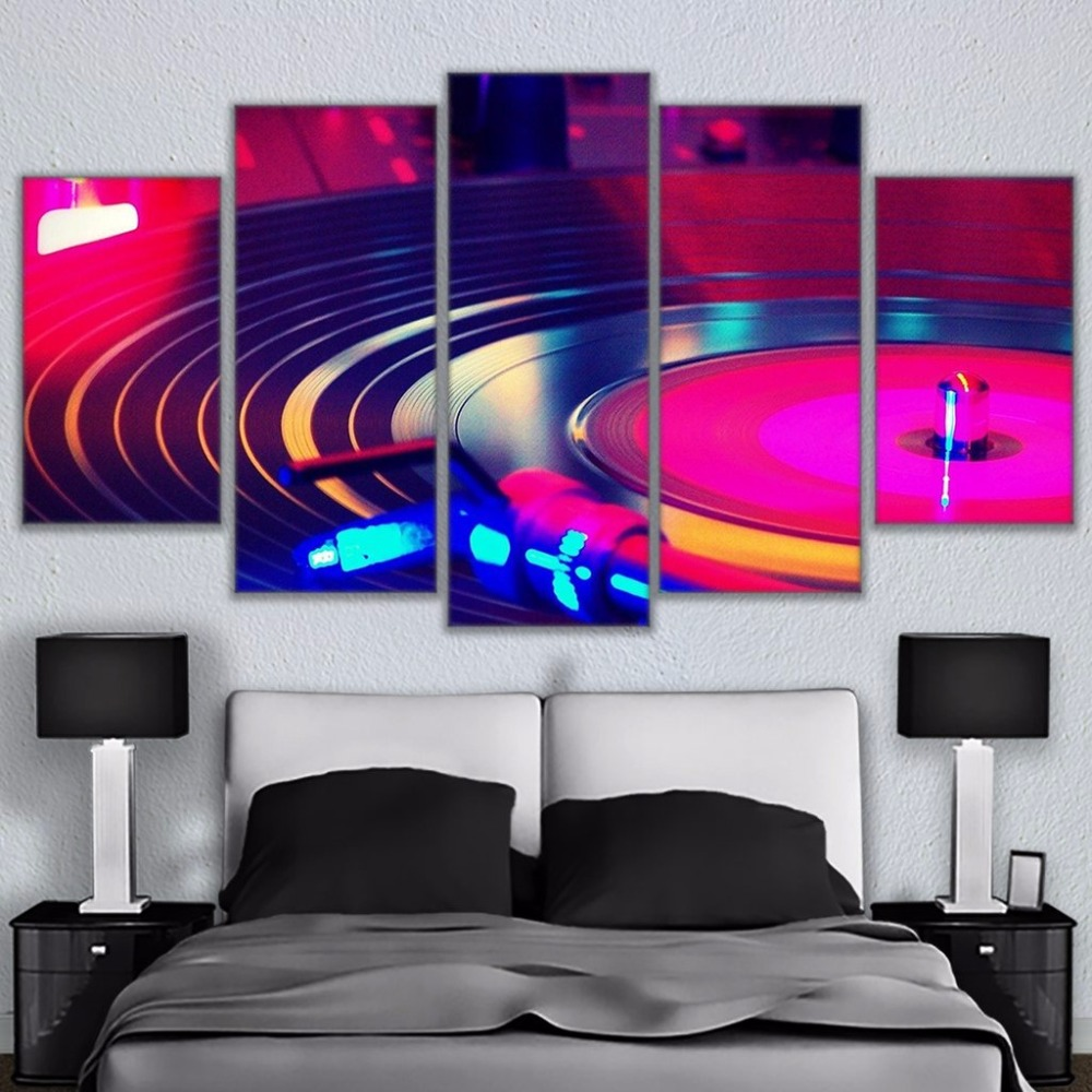 Wall Art Frames Canvas Home Decor HD Prints Painting 5 Pieces DJ Music Poster Instrument Turntables Dj Turn Table Pictures TYG