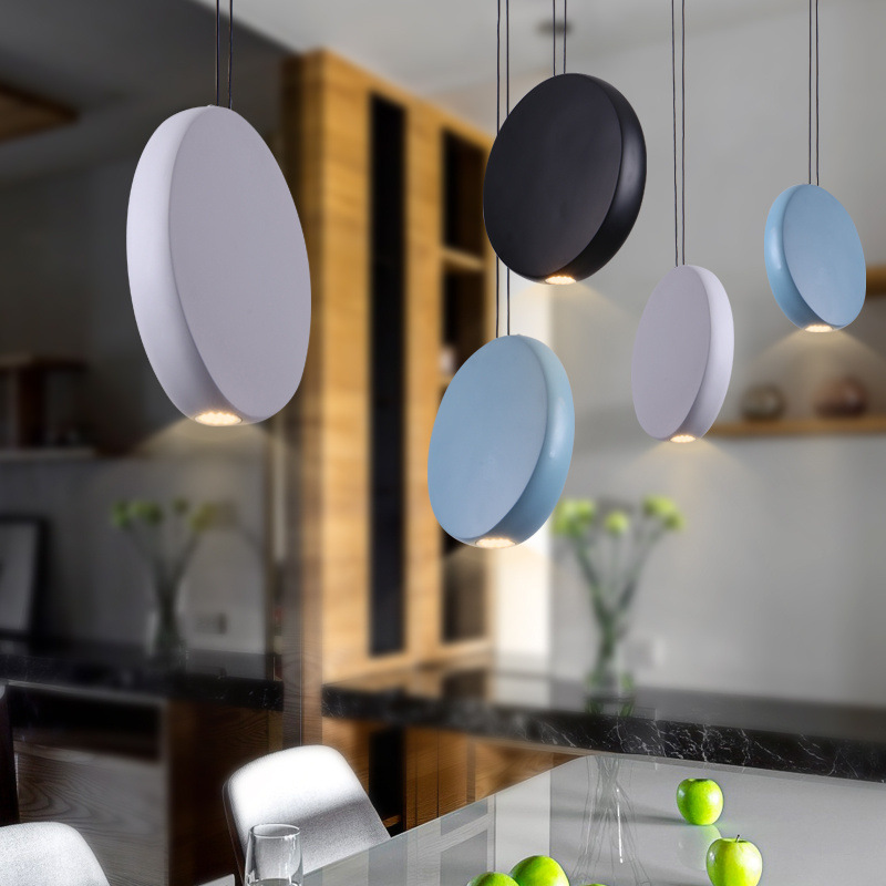 Nordic after modern minimalist bedside Macarons pendant light personality iron rounded bar restaurant hanging light lamp цена