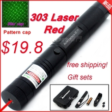 Wholesale [ReadStar]RedStar 303 high power 1W burn Green Red laser pointer laser pen plastic box set include pattern cap battery & charger