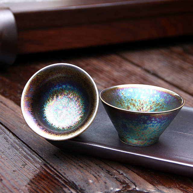 Colorful Temmoku Glaze Teacup