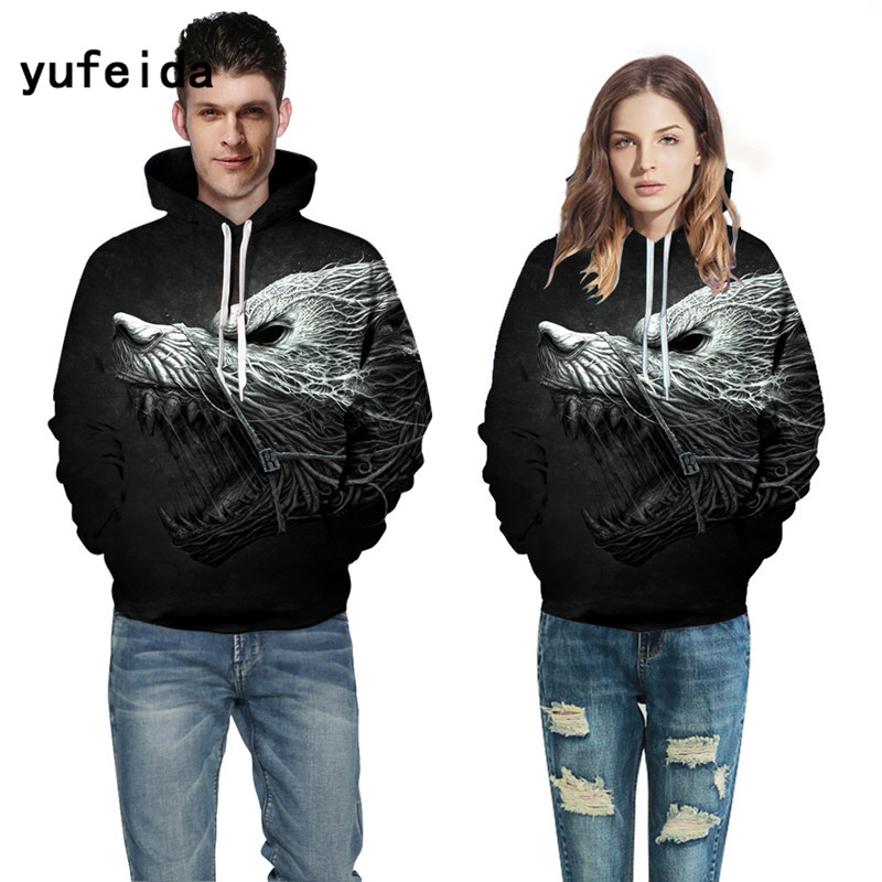 YUFEIDA Autumn Winter Fashion Men Women Hoodies With Cap Print Couple Hooded Hoody 3d Sweatshirts Pullovers Top