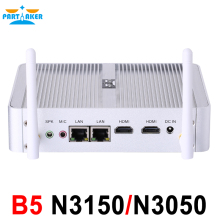 Partaker B5 Fanless Desktop Computer Mini Pc N3150 N3050 with Dual Lan Dual HDMI Free WiFi Barebone Max 8G RAM 512G SSD 1TB HDD(China (Mainland))