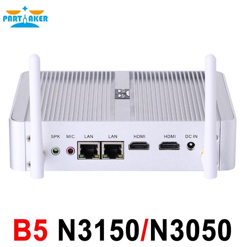 Prix pour Partaker b5 sans ventilateur ordinateur de bureau mini pc n3150 n3050 avec double lan double HDMI Livraison WiFi Barebone Max 8G RAM 512G SSD 1 TB HDD