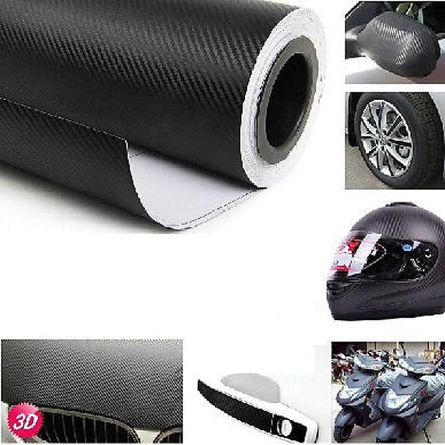 $ 1.54 Car Wrap Sheet Roll Film Sticker Car Interior Decoration 127x30cm 3D Black Carbon Fiber Vinyl Decal Interior Car Sticker New